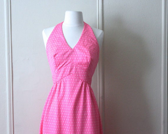 vintage 1970s Pink + White Polka Dot Maxi Dress -