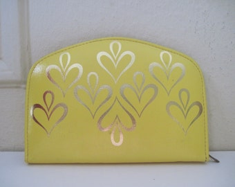 Austrian YELLOW HEART Leather MANICURE Set, made exclusively for Gimbels, circa 1960s