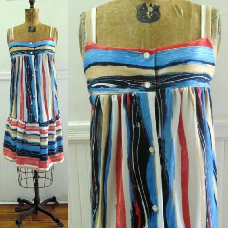 Vintage Striped Trapeze Sun Dress size medium to large