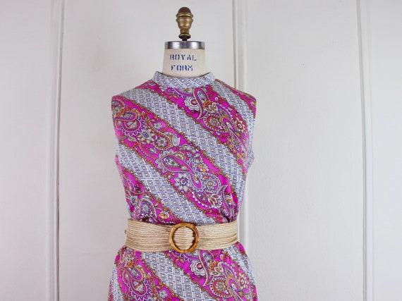Vintage Parkshire Original Sleeveless Summer Dress Mod Blue and Pink Toile