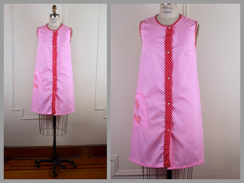 red polka dots pink vintage size medium white house dress 60s cotton DAY DRESS with an anchor Julie Girl sailor chic
