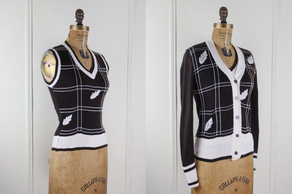 Brown Leaf Cardigan and Vest vintage 1970s  Sweater Set size small to medium