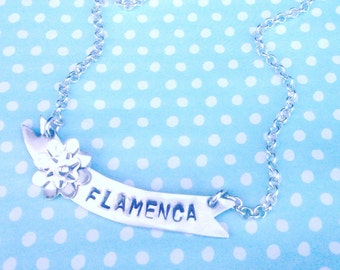 Flamenca Banner Necklace Flamenco Spanish Dancer Necklace Sterling Silver