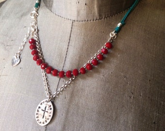 Cross Charm Necklace Deep Red Sterling Silver Turquoise Suede Cord Religious