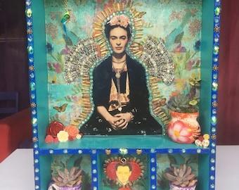 Frida Kahlo Nicho Altar Shrine Homage Diego Rivera Skulls Succulents Flowers Day of the Dead