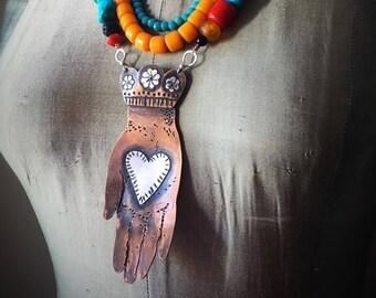 Heart on Hand Boho Multi-layered NecklaceCorazon en Mano Milagro Hand Mixed Metals