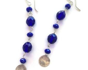 Long Cobalt Blue Dangle Earrings with Sterling Silver