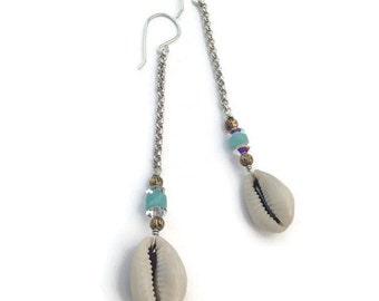 Cowry Shell Earrings Long Sterling Silver Chain Handmade Boho Beach Bohemian Tribal Hippie