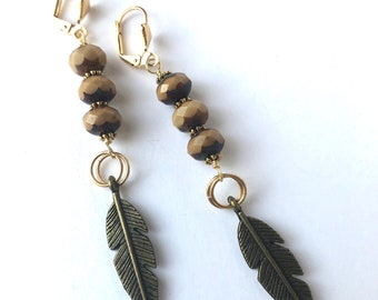 Antique Gold Brass Feather Earrings with Czech Glass Beads