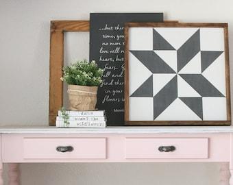 BARN QUILT Farmhouse Style Rustic Wood Sign, Handmade, Shabby Chic