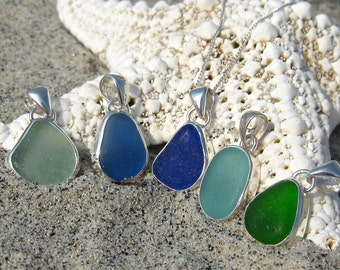 Sea Glass and Sterling Silver Bezel Necklace   Simple Sea Glass   Sea Glass Jewelry   Sea Glass Necklace   Classic Bezel Set Sea Glass