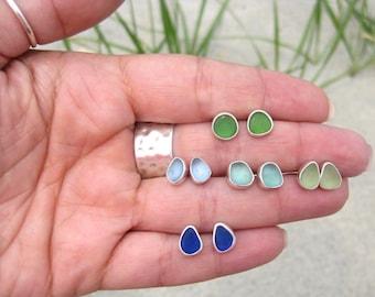 Sea Glass Post Earrings| Beach Glass Earrings | Sea Glass Jewelry | Beach Glass Jewelry