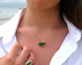 Sea Glass and Sterling Silver Horizon Necklace | Simple Sea Glass | Sea Glass Jewelry | Sea Glass Necklace | Seaglass Necklace | Horizon