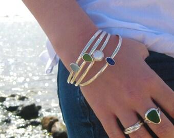 Sea Glass Bangle Bracelet | Sterling Silver Bangle Bracelet | Bangle Bracelet | Sea Glass Bracelet | Beach Glass Bracelet | Pearl Bracelet