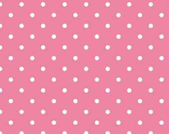 20% OFF Riley Blake Basic White Swiss Dots on Hot Pink