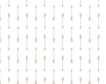 EXTRA 20 30% OFF  Riley Blake Basic Sparkle Rose Gold Arrow On White