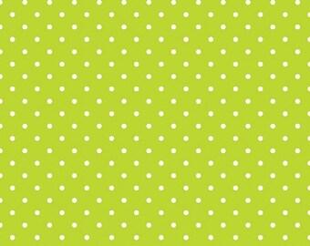 20% OFF Riley Blake Basic White Swiss Dots on Lime