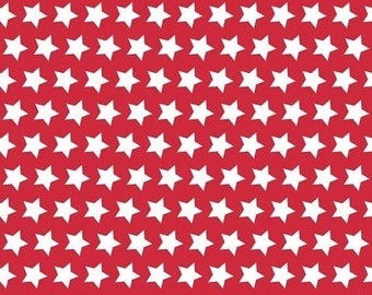EXTRA 20 20% OFF Riley Blake Basic Stars White on Red