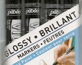 Pebeo GLOSSY Glass PAINT Markers Set of 4