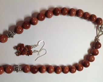 Goldstone necklace with matching earrings