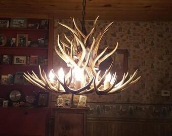 Antler pendant light etsy 32 inch by 22 inch tall real mule deer chandelier 21 antler design 7 sockets down light aloadofball Gallery