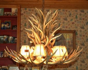 Antler chandelier etsy 33 inch real mule deer chandelier 26 antler design 6 elk antler covered light aloadofball Choice Image