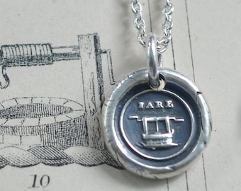 fare well wax seal necklace - bon voyage gift - sterling silver Victorian wax seal jewelry