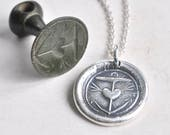 anchor and heart wax seal necklace pendant hope in you - 18th century revolutionary war era silver wax seal jewelry