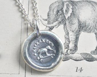 elephant necklace - elephant wax seal necklace pendant ... believe in yourself - inspirational gift - French motto antique wax seal jewelry