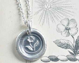 flower necklace - wax seal … hope - fine silver Victorian trinket wax seal jewelry