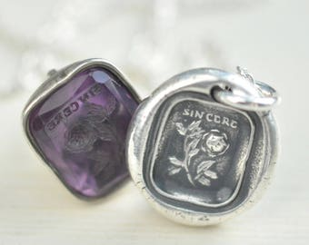 rose wax seal necklace - SINCERE - wax seal jewelry