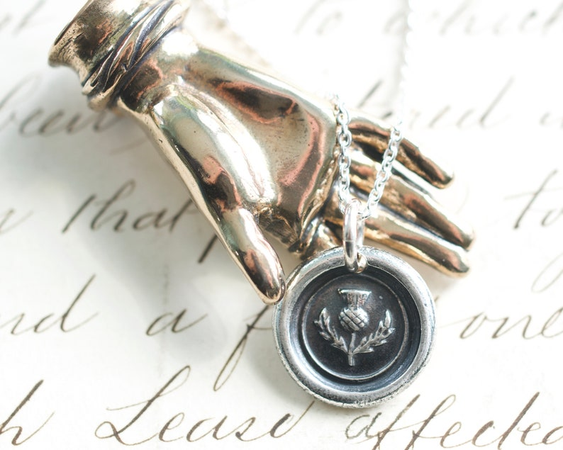 wax seal jewelry Scottish thistle wax seal necklace pendant outlander jewelry