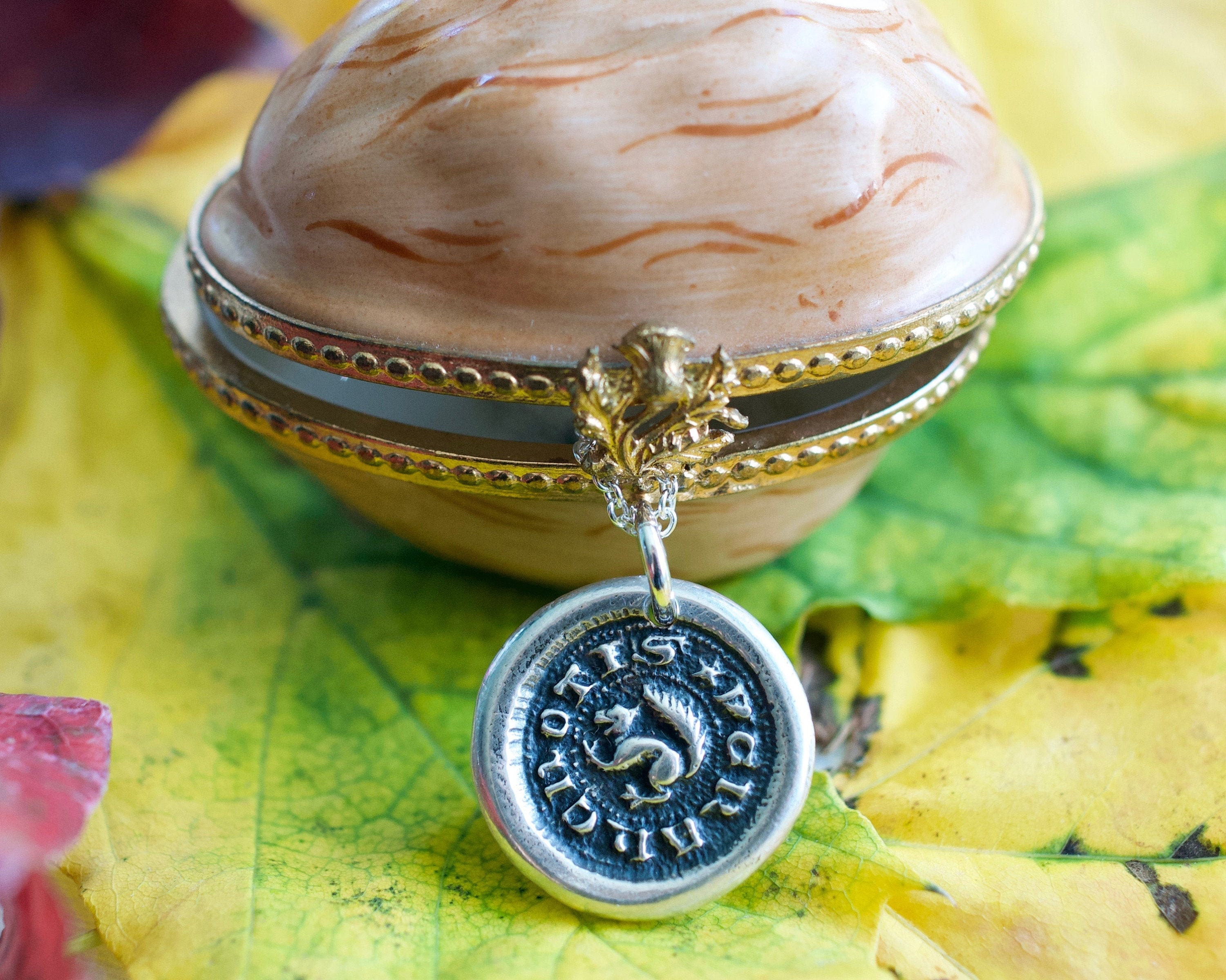 250G Squirrel Wax Seal Necklace in Gold Vermeil Look Within Break and Behold