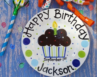 8 inch Personalized Ceramic Birthday Plate, Custom Painted Cupcake Plate, Birthday Plates, Celebration Plate