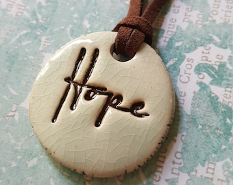 Clay pendant on suede cord necklace, hope pendant, ceramic pendant, ceramic necklace, hope necklace, rustic charm, organic, earthy, boho