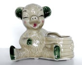 Whimsical Bear and Beehive Ceramic Planter - Indoor Planter - Kitsch Container Vase