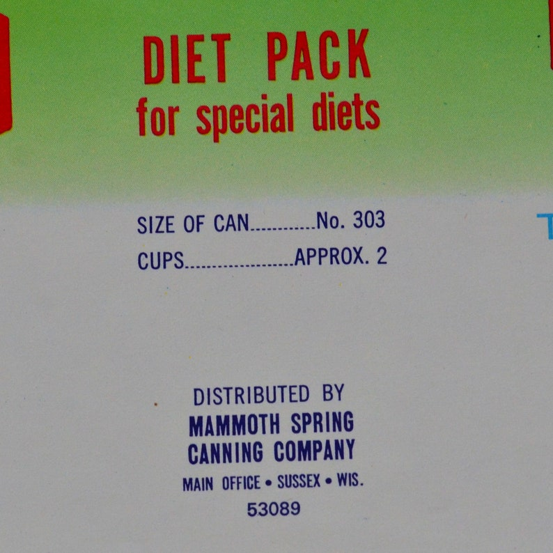 1970s New Old Stock Kewpie Diet Pack Can Label \u2013 Mammoth Spring Canning Company Paper Ephemera Sussex Wisconsin \u2013 Advertising