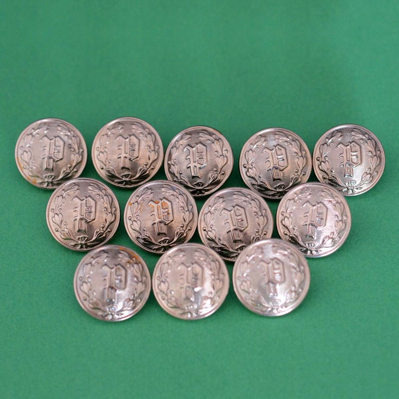 Silver Police Department Buttons - Collection Set of 12 - P Monogram -  Waterbury Button Company - Uniform Buttons