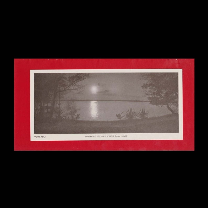 Burr McIntosh Monthly Magazine Print - Moonlight on Lake Worth, Palm Beach  c  1903