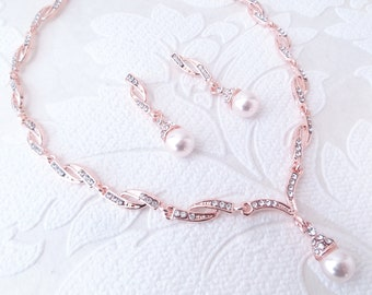 RoseGold, Gold, or Silver Wedding Earrings and Necklace Set with Swarovski Crystal Core Pearl for Art Deco Vintage Bride Classic MOB Jewelry
