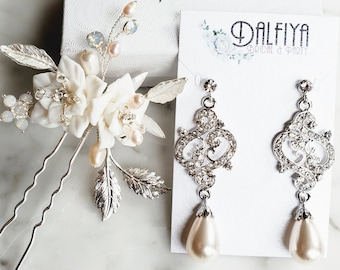 Floral Hair Pin and Victorian Pearl Chandelier Earrings Wedding Jewelry Set for Bride Headpiece Jewelry Set