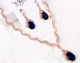 Sapphire on Rose Gold Necklace and Earrings Wedding Jewelry Set for Brides with Personalized Color Swarovski Crystal