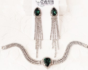Emerald Green on Silver, Rose Gold, or Yellow Gold Bracelet and Earrings Set with Custom Color Swarovski Crystal