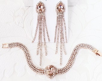 Blush on Rose Gold, Silver, or Yellow Gold Bracelet and Earrings Set with Custom Color Swarovski Crystal