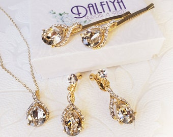 Champagne Jewelry Set with Halo Drop ClipOn Earrings for Bridesmaid Gift, Prom Statement, or Wedding Chandelier Clip Ons