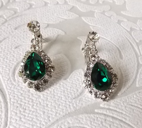 1a632868d Emerald Green Crystal Drop Earrings ClipOn or Pierced with | Etsy