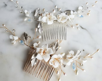 Silver or Rose Gold Plated Bridal Bouquet Hair Comb Wedding Floral Headpiece for Bride