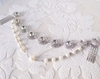 Wedding Headpiece with .925 Sterling Silver Handwrapped Freshwater Pearl and Swarovski Crystal 1920s Bridal Head Chain Boho Bride Hair Comb
