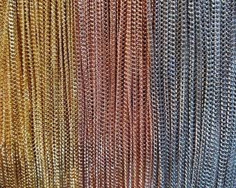 """Silver, Gold, or Rose Gold Plated 1mm Curb Chains in 16-18"""" 18-20"""" 20-22"""" Long"""