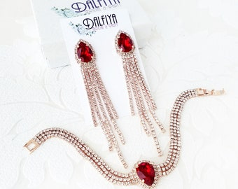 Ruby Red on Rose Gold, Silver, or Yellow Gold Bracelet and Earrings Set with Custom Color Swarovski Crystal